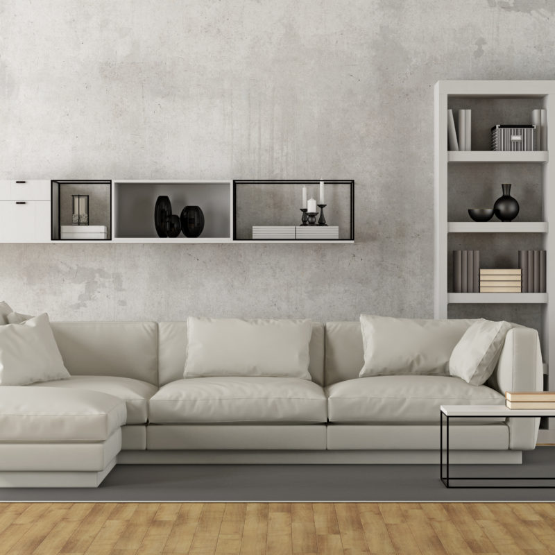 Contemporary white living room with sofa, bookcase and sideboard on concrete wall - 3D Rendering