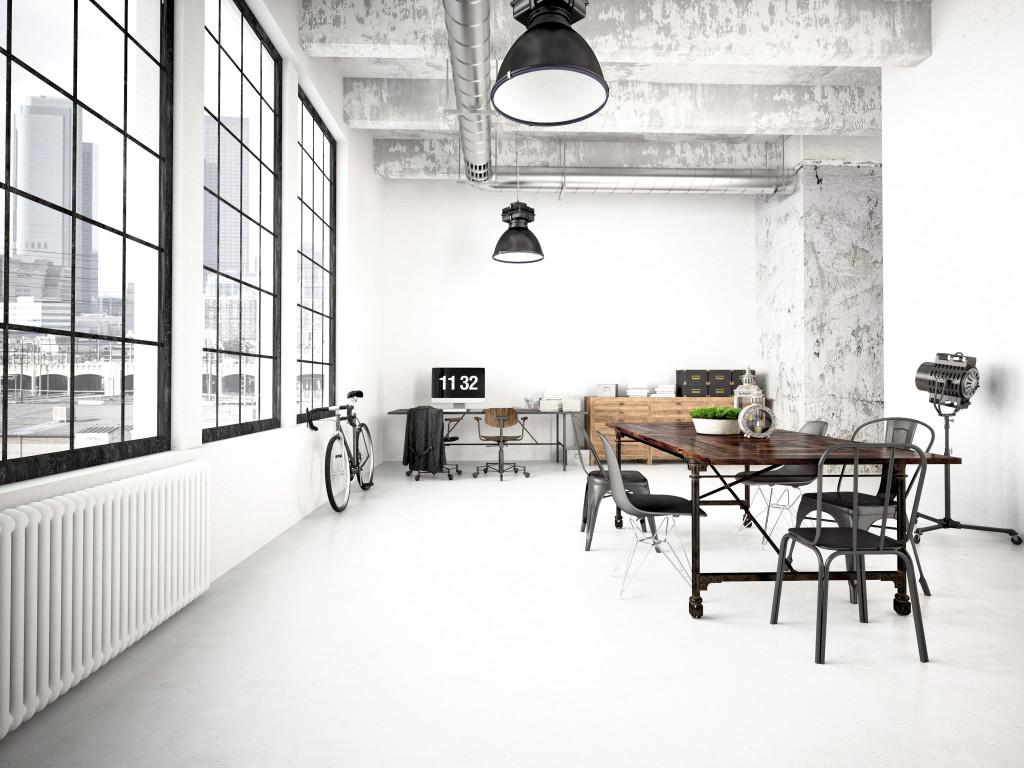 Salon w stylu industrialnym