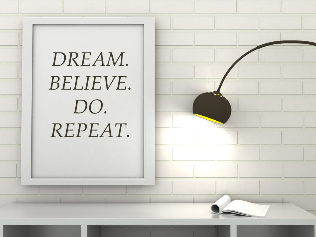Motivation words Dream, Believe, Do, Repeat, inspiration quote. Inspirational poster frame in modern interior. Scandinavian style home interior decorration. 3d render